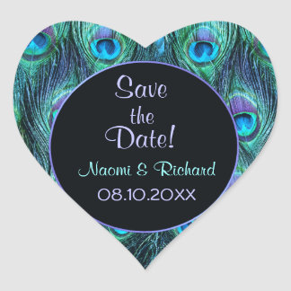 Peacock Feather Drama - Wedding Seal - Customize Heart Sticker