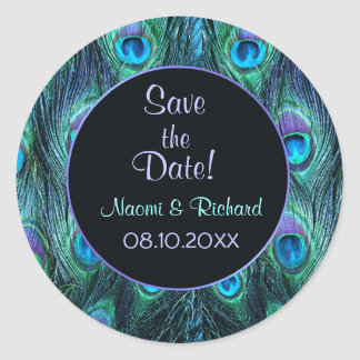 Peacock Feather Drama - Wedding Seal - Customize Round Sticker