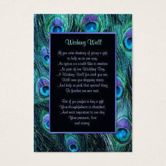 Peacock Feather Drama Wedding - Wishing Well Business Card