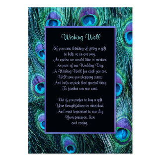 Peacock Feather Drama Wedding - Wishing Well Pack Of Chubby Business Cards