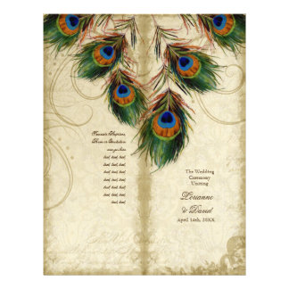 Peacock & Feather Elegant Matching Wedding Program Flyer