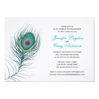Peacock Feather Engagement Party 13 Cm X 18 Cm Invitation Card