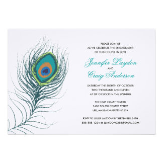Peacock Feather Engagement Party Custom Invitations