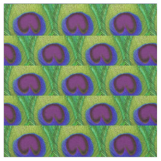 Peacock Feather Fabric - Green Purple Blue Print