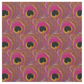 Peacock Feather Fabric - Pink Yellow Orange Black