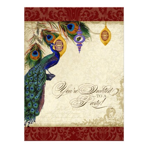 Peacock & Feather Formal Holiday Party Invite