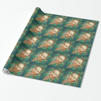 PEACOCK FEATHER FRAME CUSTOM PHOTO WRAPPING PAPERS