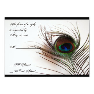 Peacock Feather Glamor Response Card Personalized Invite