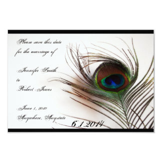 """Peacock Feather Glamor Save the Date 3.5"""" X 5"""" Invitation Card"""