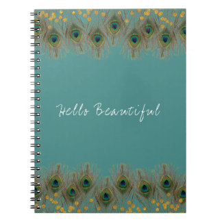 Peacock Feather & Gold Dots ANY COLOR Boho Chic Spiral Notebook