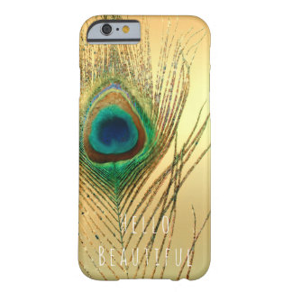 Peacock Feather Gold Exotic Boho Chic Custom Glam Barely There iPhone 6 Case