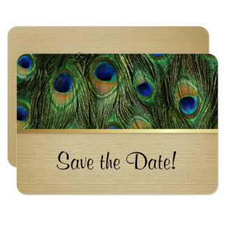 Peacock Feather Green - Save The Date 9 Cm X 13 Cm Invitation Card