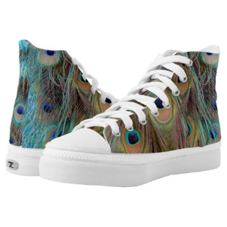 Peacock Feather High Top Shoes Printed Shoes
