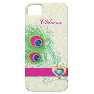 Peacock feather jewel heart custom iPhone 5 covers