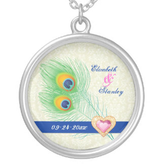 Peacock feather jewel heart wedding anniversary round pendant necklace