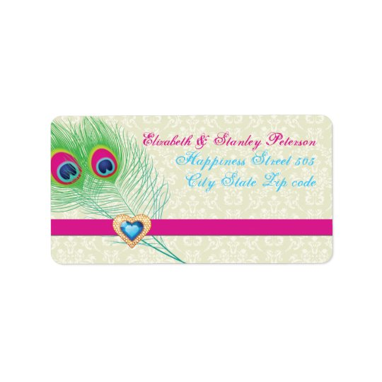 Peacock feather jewel heart wedding label