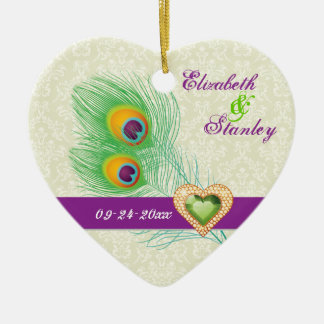 Peacock feather jewel heart wedding Save the Date Ceramic Heart Decoration