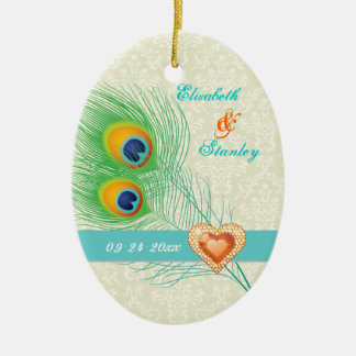 Peacock feather jewel heart wedding Save the Date Ceramic Ornament