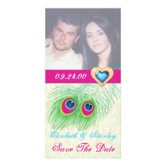 Peacock feather jewel heart wedding Save the Date Customized Photo Card