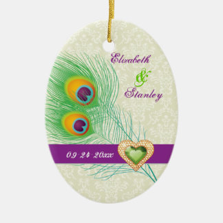 Peacock feather jewel heart wedding Save the Date Double-Sided Oval Ceramic Christmas Ornament