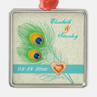 Peacock feather jewel heart wedding Save the Date Christmas Ornaments