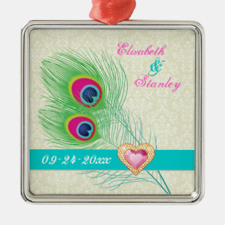 Peacock feather jewel heart wedding Save the Date Square Metal Christmas Ornament
