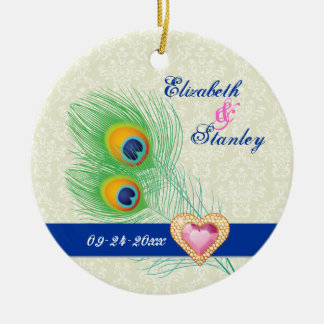 Peacock feather jewel heart wedding Save the Date Double-Sided Ceramic Round Christmas Ornament