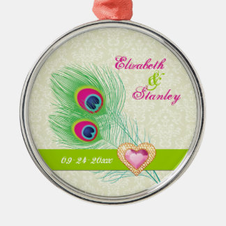 Peacock feather jewel heart wedding Save the Date Round Metal Christmas Ornament