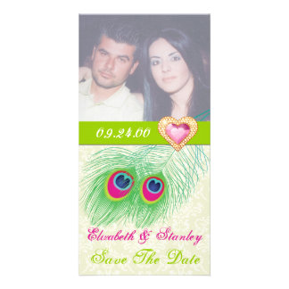 Peacock feather jewel heart wedding Save the Date Photo Card Template