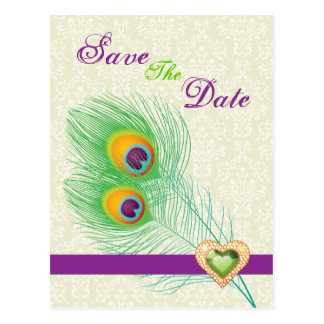 Peacock feather jewel heart wedding Save the Date Postcard