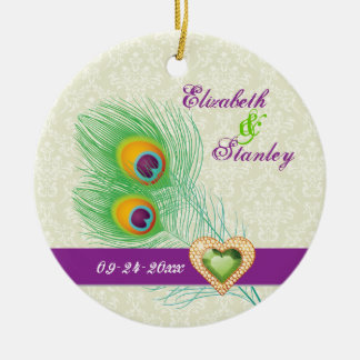 Peacock feather jewel heart wedding Save the Date Round Ceramic Decoration