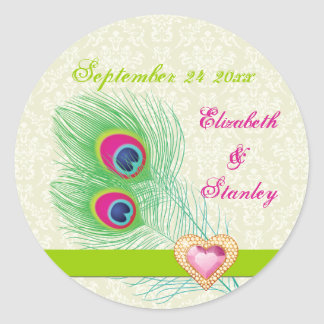 Peacock feather jewel heart wedding Save the Date Round Sticker