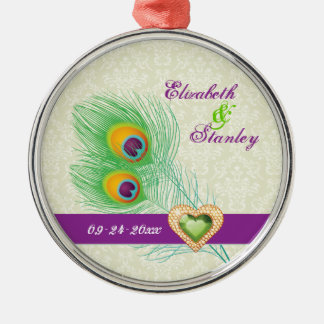 Peacock feather jewel heart wedding Save the Date Silver-Colored Round Decoration