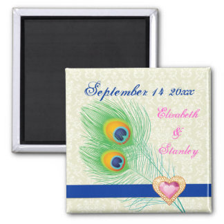 Peacock feather jewel heart wedding Save the Date Square Magnet