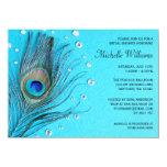 Peacock Feather Jewels Aqua Bridal Shower 11 Cm X 16 Cm Invitation Card