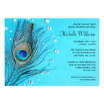 Peacock Feather Jewels Aqua Bridal Shower Announcements
