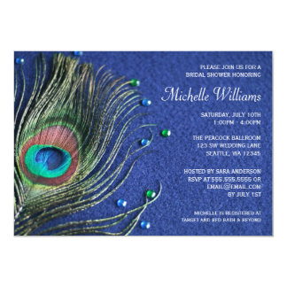 Peacock Feather Jewels Blue Bridal Shower 13 Cm X 18 Cm Invitation Card
