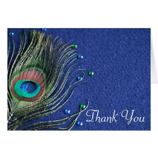 Peacock Feather Jewels Blue Thank You Greeting Card