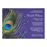 Peacock Feather Jewels Purple Bridal Shower 11 Cm X 16 Cm Invitation Card
