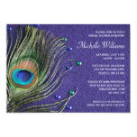 Peacock Feather Jewels Purple Bridal Shower 13 Cm X 18 Cm Invitation Card