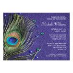 Peacock Feather Jewels Purple Bridal Shower Custom Invitations