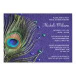 Peacock Feather Jewels Purple Bridal Shower 13 Cm X 18 Cm Invitation Card