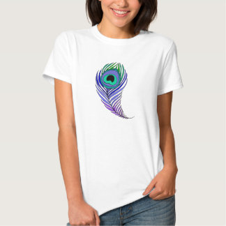 Peacock feather ladies babydoll fitted tee shirt