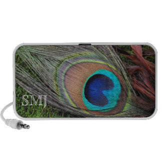 Peacock Feather Monogrammed Personalized Accessory Portable Speakers