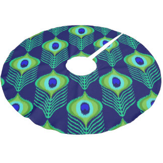 Peacock feather moroccan ikat design brushed polyester tree skirt