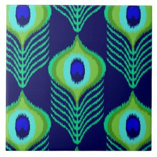 Peacock feather moroccan ikat design ceramic tile