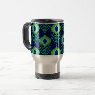 Peacock feather moroccan ikat design travel mug