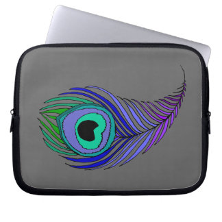 Peacock Feather Neoprene Laptop Sleeve 10""