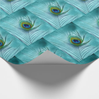 Peacock Feather on Blue with 3D Look