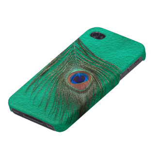 Peacock Feather on Green Cover For iPhone 4